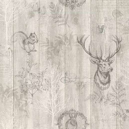 Barna szarvas, erdei állat mintás vlies tapéta deszka mintás alapon