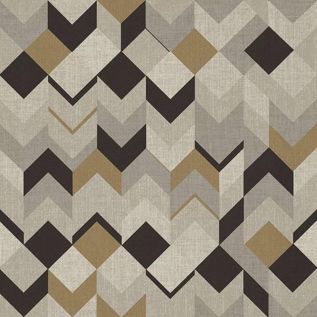 Barna szürke geometrikus mintás vinyl tapéta