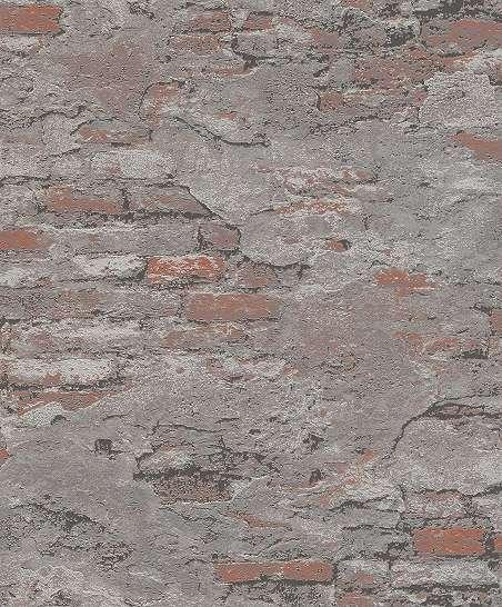 Barna-szürke loft hangulatú beton és téglamintás vlies tapéta