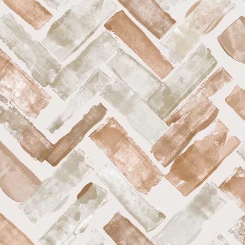 Barna téglalap mintás vízfestett hatású design tapéta