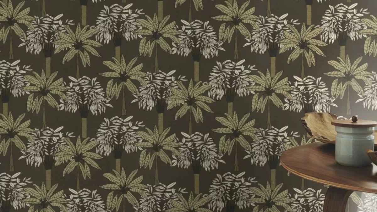 Barna trópusi pálma mintás modern vlies dekor tapéta