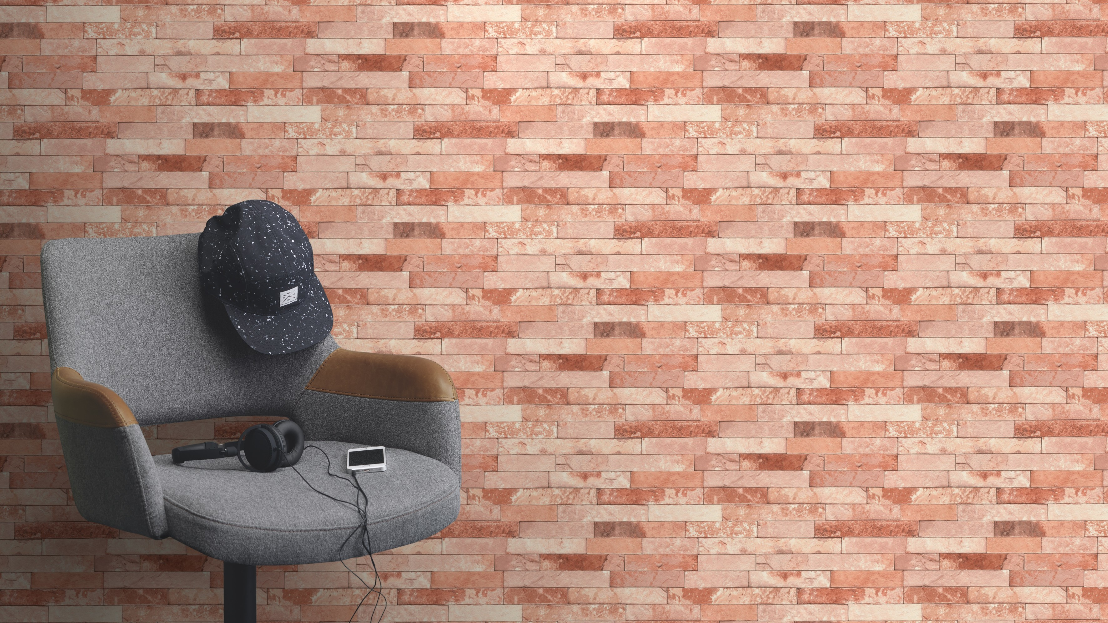 Barnás színű tégla mintás tapéta