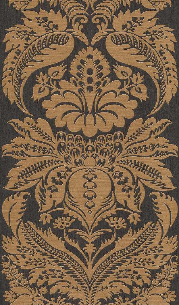 Barokk mintás fekete réz színű tapéta