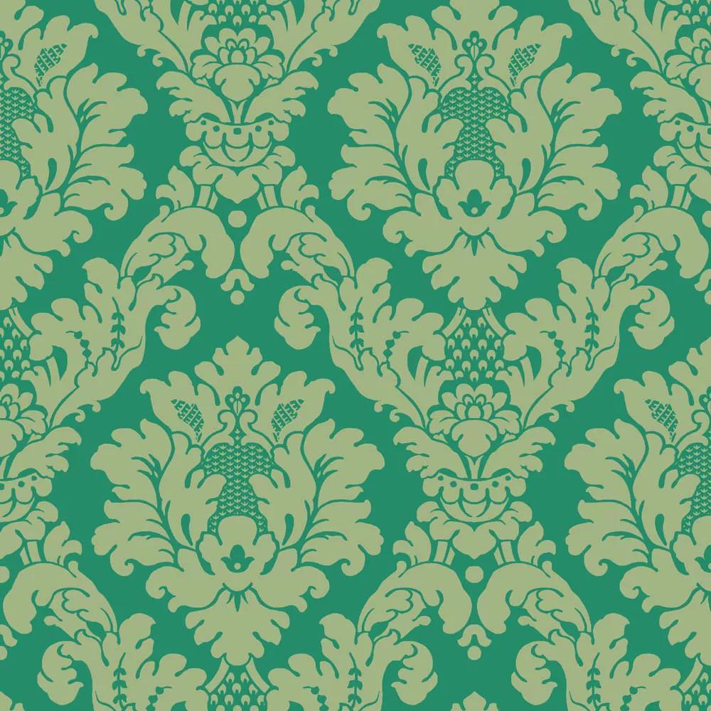 Barokk mintás papír tapéta zöld színben