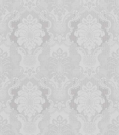 Barokk mintás szürke tapéta, finom ezüst mintás csíkozással