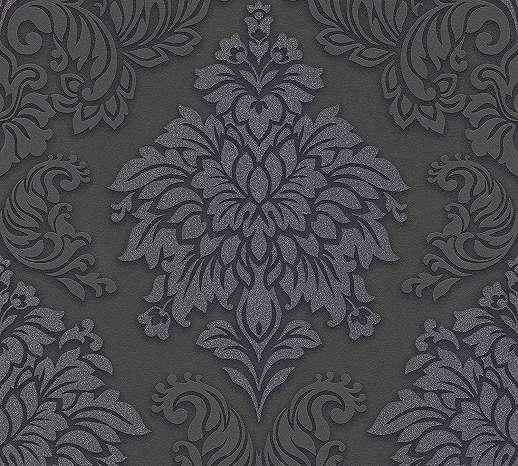 Barokk mintás tapéta fekete színben csillógó elegánsan felülettel