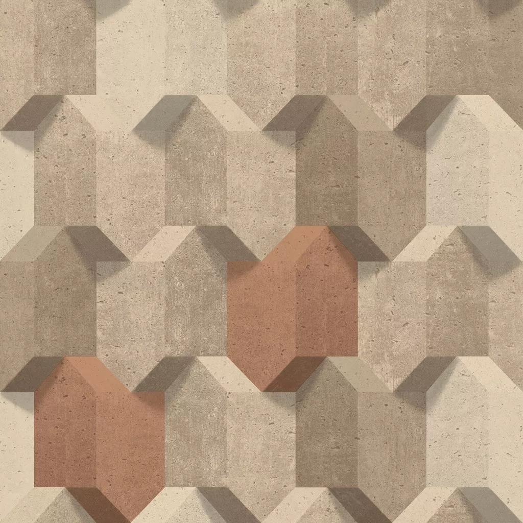 Betonhatású modern geometriai mintás tapéta barna színben
