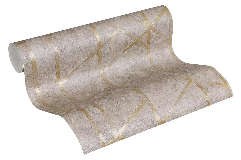 Bézs alapon arany csíkos mintás modern tapéta