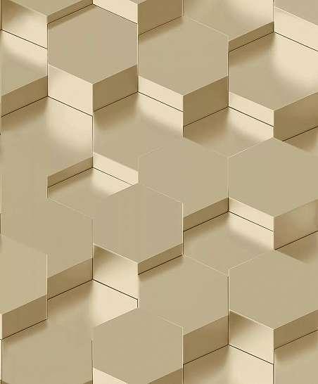 Bézs arany 3D hatású high-tech dekor tapéta hexagon mintával