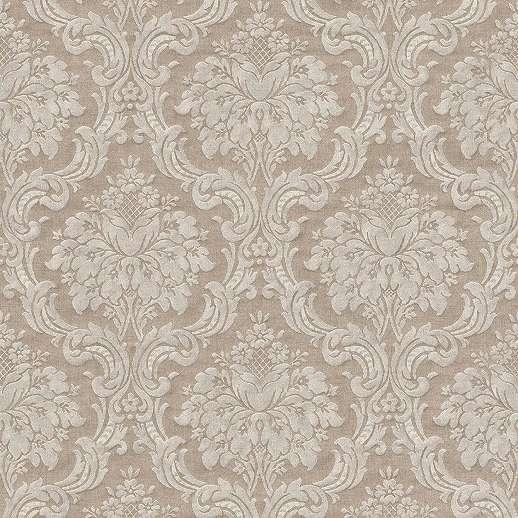 Bézs-barna barokk mintás vlies tapéta