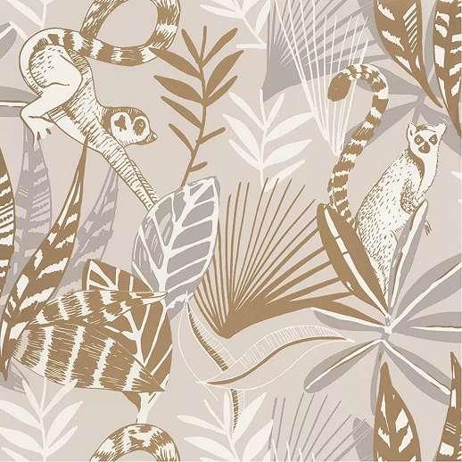 Bézs barna egzotikus állat és pálmalevél mintás vlies design tapéta