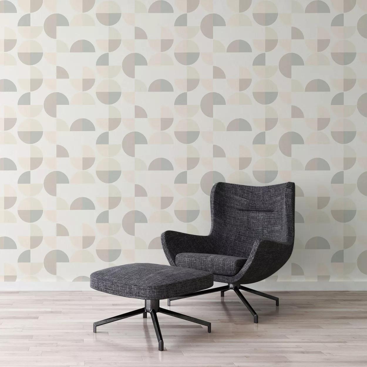 Bézs-barna geometrikus mintás vlies retro hangulatú tapéta