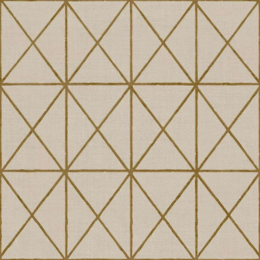 Bézs-barna háromszög geometrikus mintás vinyl tapéta
