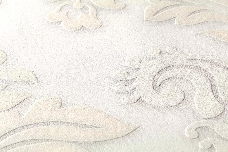 Bézs barokk mintás tapéta elegánsan csillogó felülettel