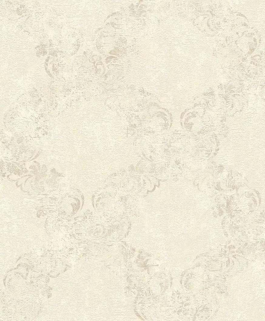 Bézs barokk mintás tapéta metál hatású mintafelülettel