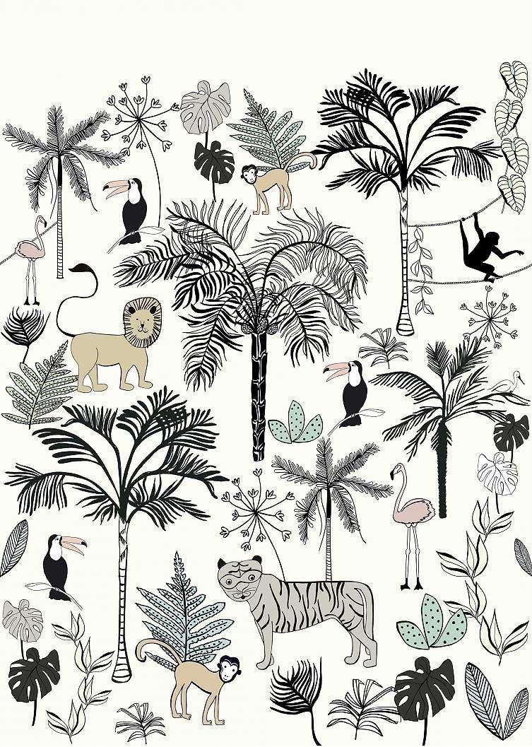 Bézs dzsungel mintás fali poszter gyerekszobába