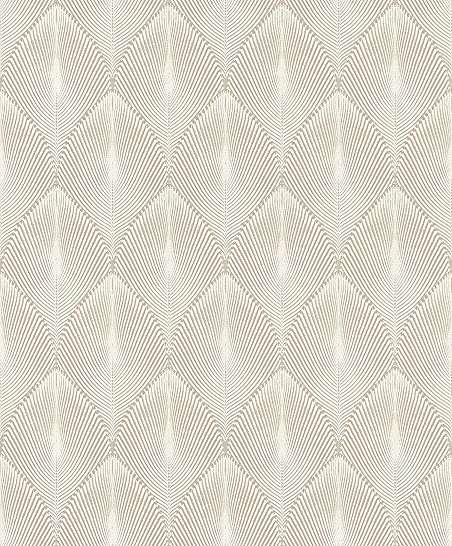 Bézs geometrikus kagyló mintás modern vlies tapéta