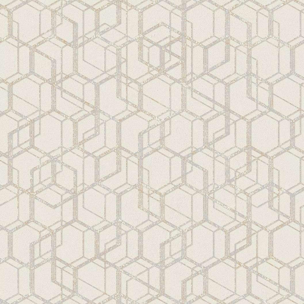 Bézs geometrikus mintás modern vlies tapéta