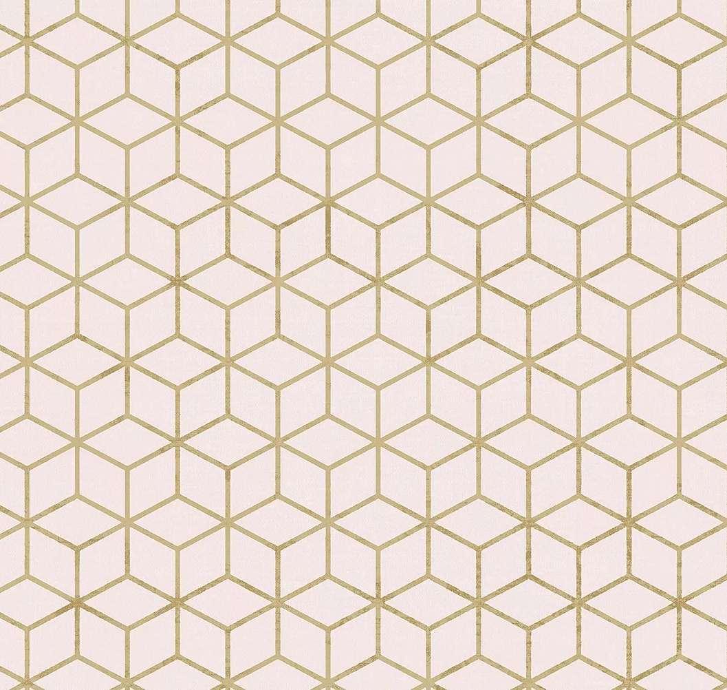 Bézs geometrikus mintás tapéta 3D hatású kocka mintával