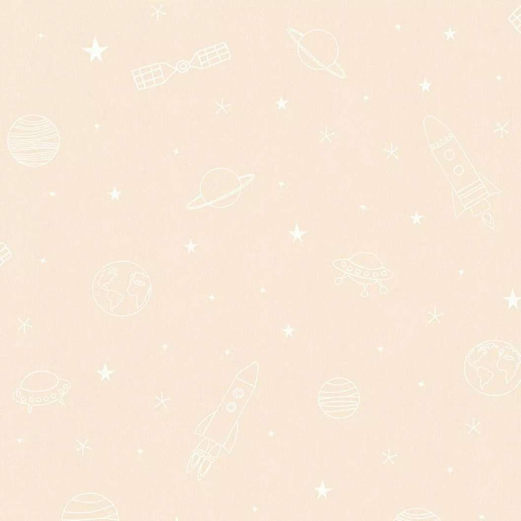 Bézs gyerektapéta csillagok, űrhajó mintával