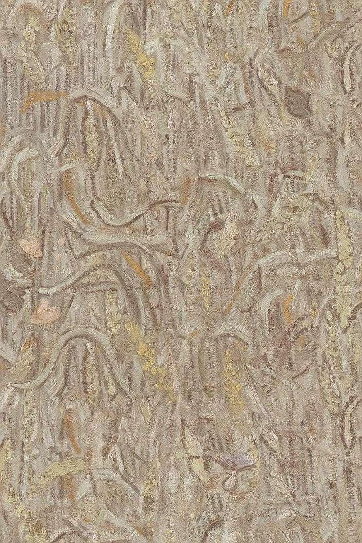 Bézs kézi festett hatású tapéta Van Gogh ecsetvonásaival