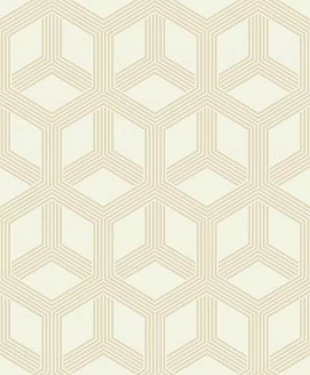Bézs-krém modern geometrikus hexagon mintás vlies tapéta