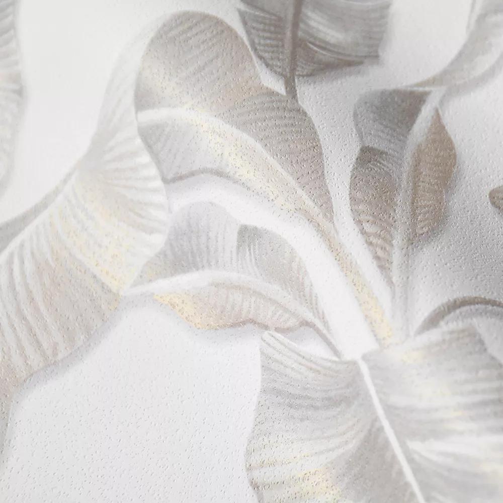 Bézs krém pálmalevél mintás vlies tapéta