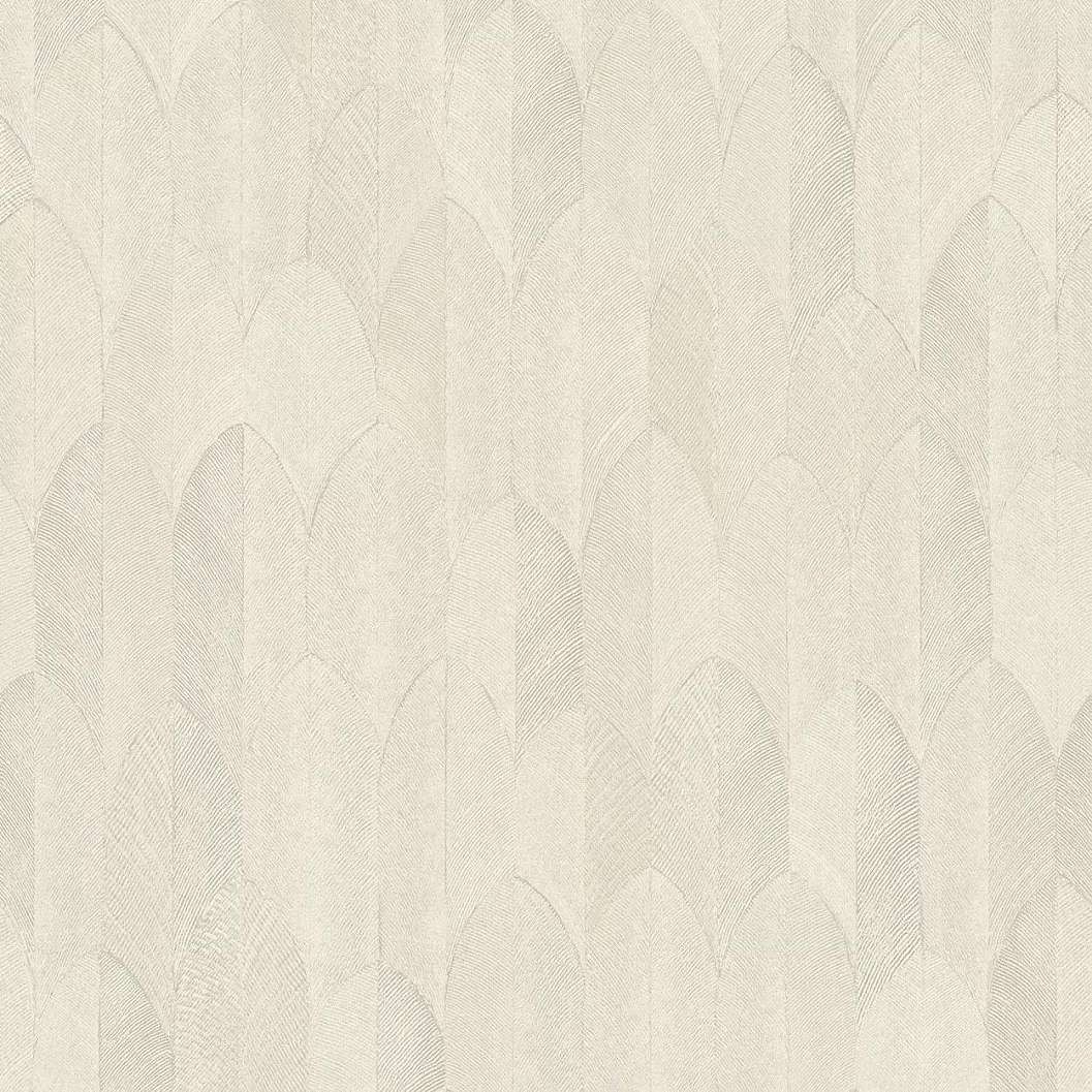 Bézs krém stilizált levélmintás vlies vinyl dekor tapéta