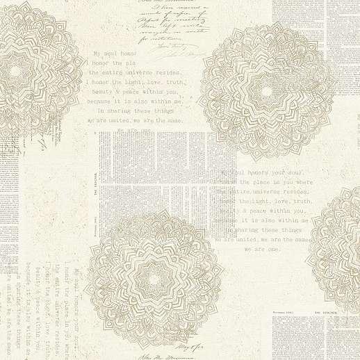 Bézs orientális stílusú vlies tapéta kalligrafikus írott mintával