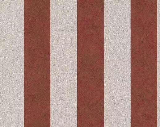 Bézs-piros klasszikus csíkos mintás vlies tapéta