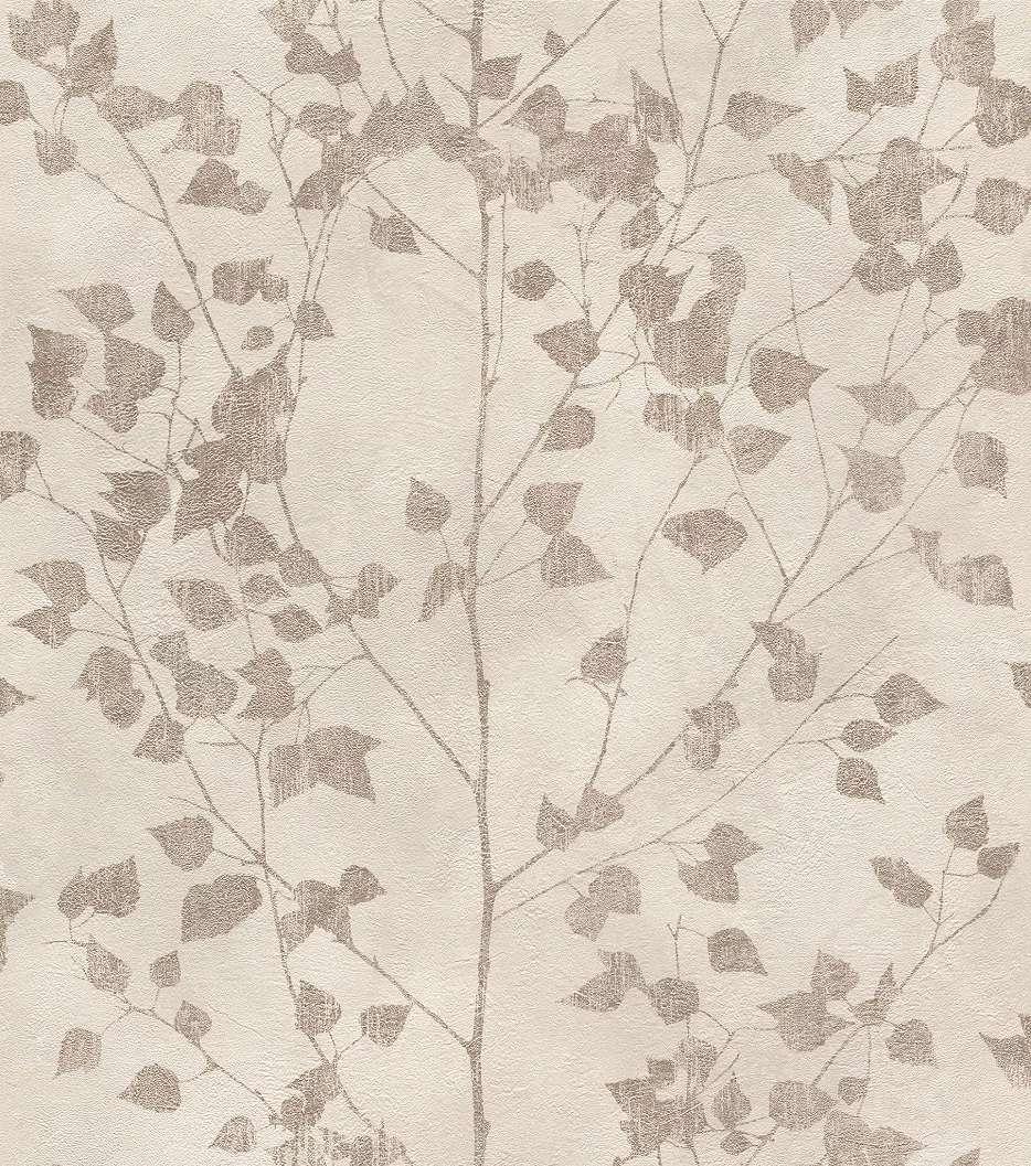 Bézs skandináv stílusú tapéta levél mintával