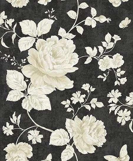 Bézs sötétbarna vintage virágmintás tapéta