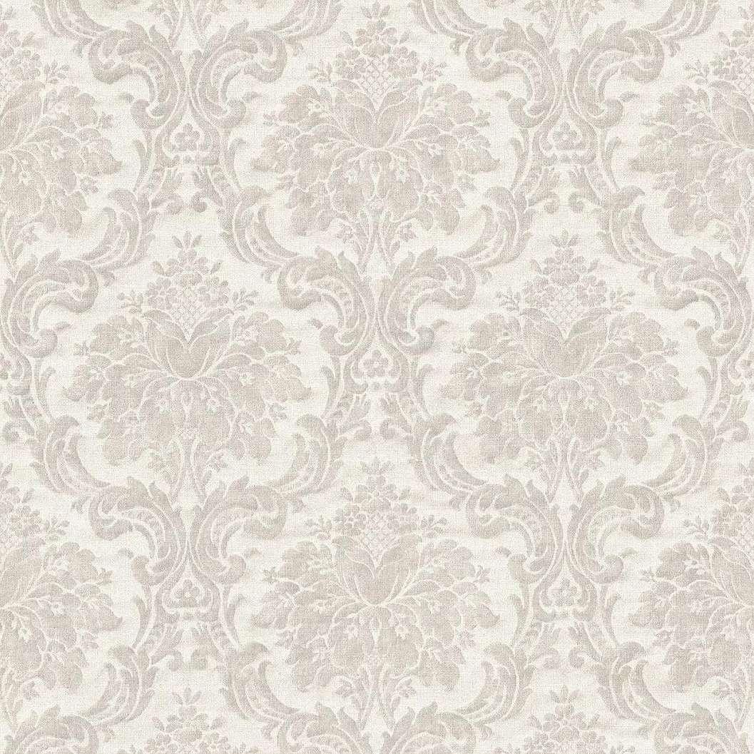 Bézs-szürke klasszikus barokk mintás vlies tapéta