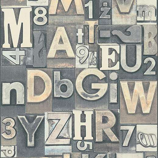 Bézs szürke számos betűs loft stílusú dekor tapéta