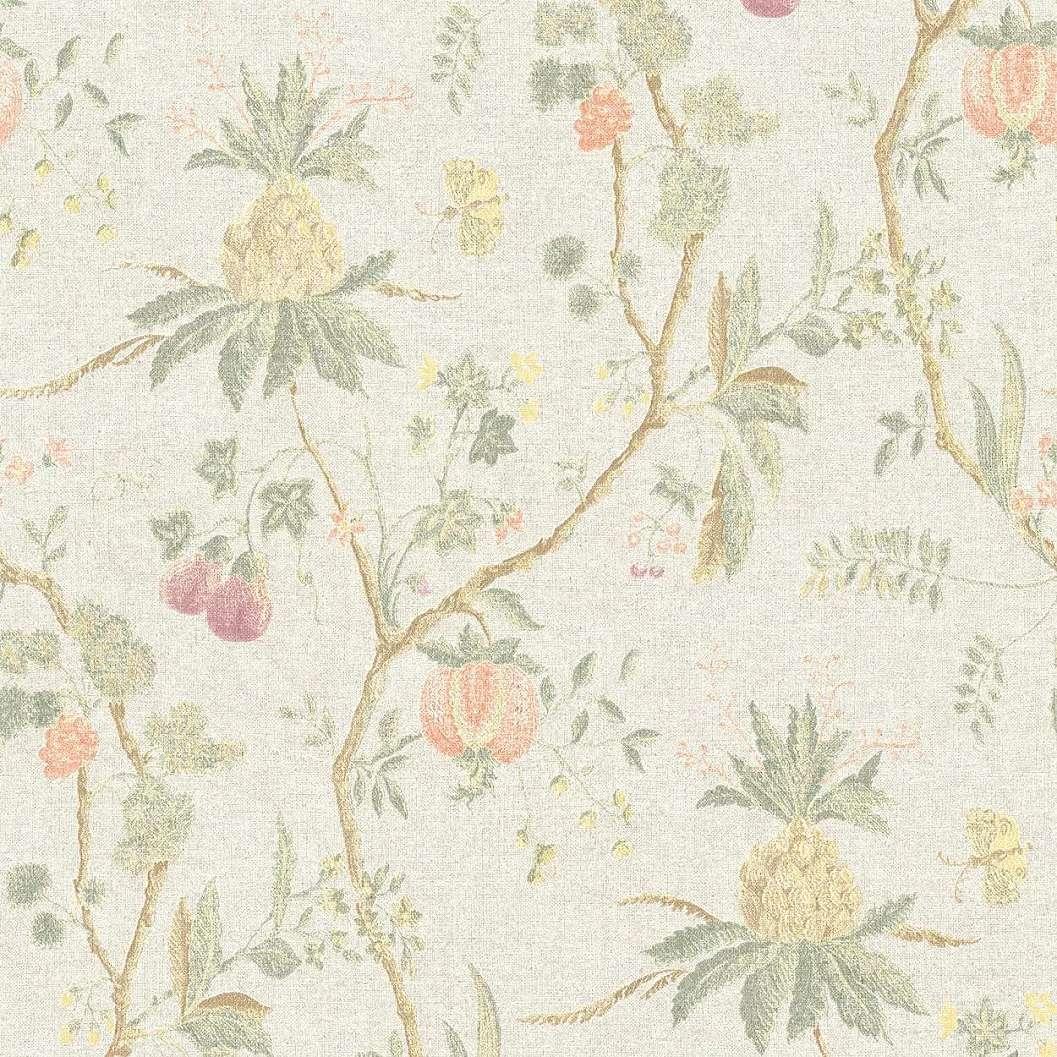 Bézs trópusi virágmintás trendi vintage hangulatú tapéta