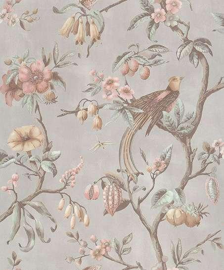 Bézs vintage hangulatú madár és virágmintás vlies design tapéta