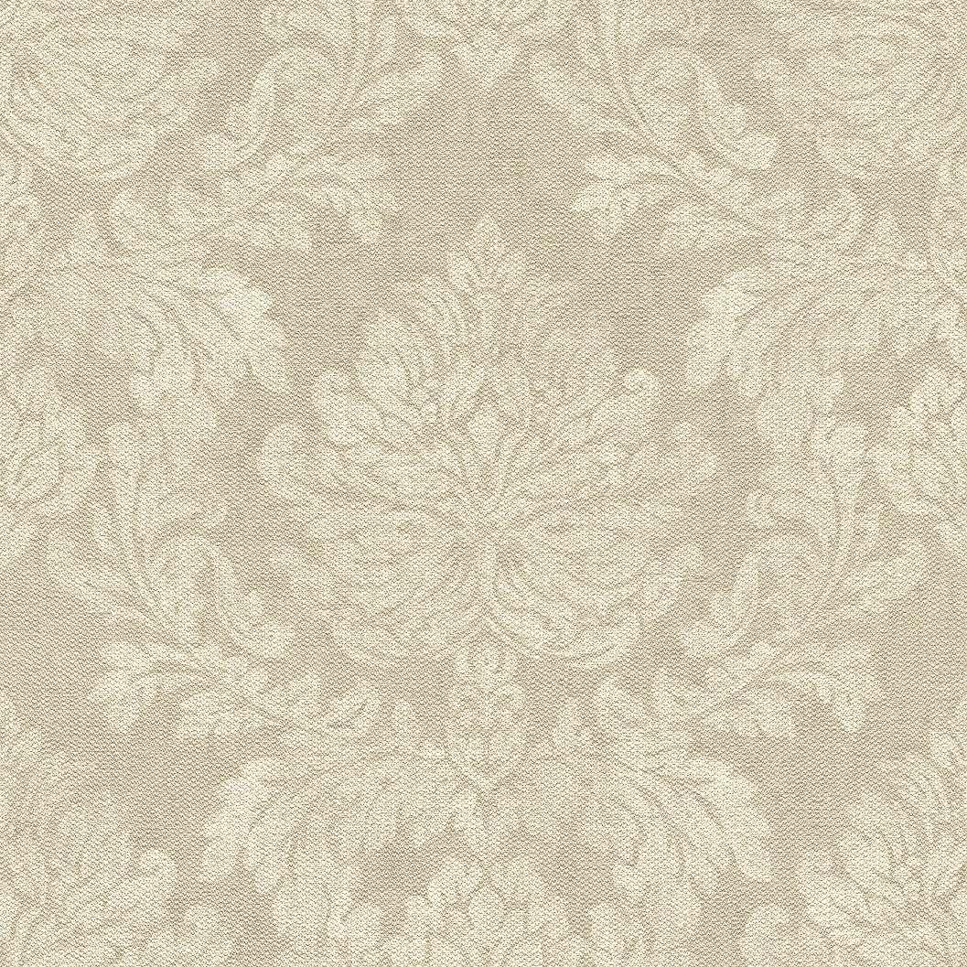 Bézs,drapp szövethatású alapon krém klasszikus mintás tapéta