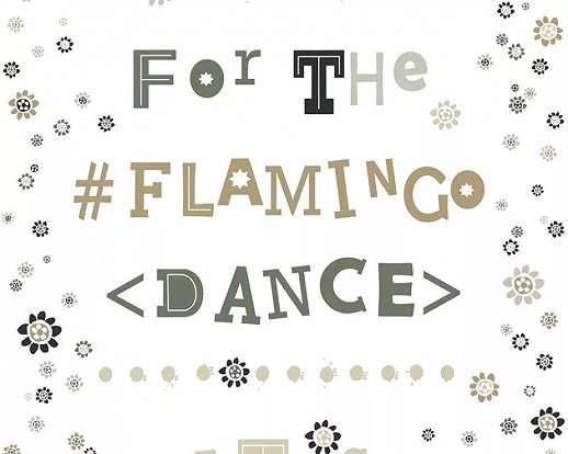 Bohém tapéta flamingó tánc felirattal föld színekkel