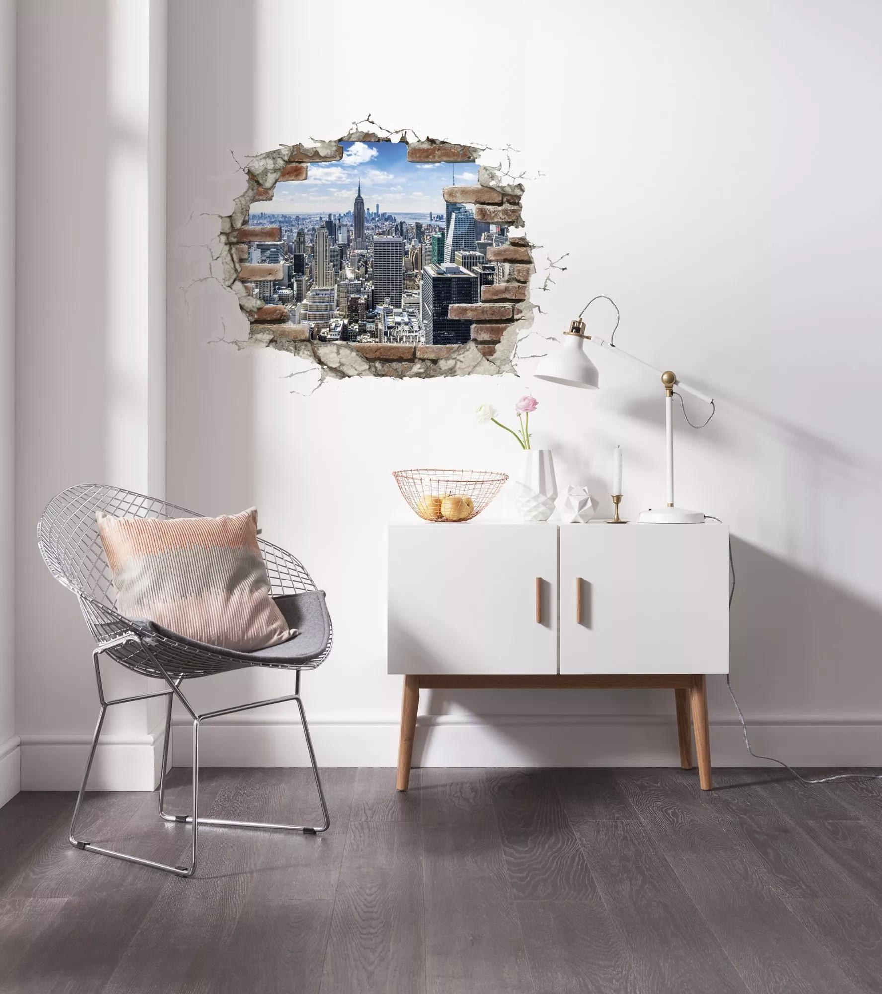 Bontott téglafal New York látképével falmatrica