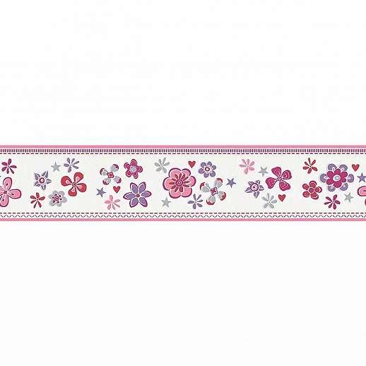 Bőrdűr gyerekszobába piros lila virág mintával