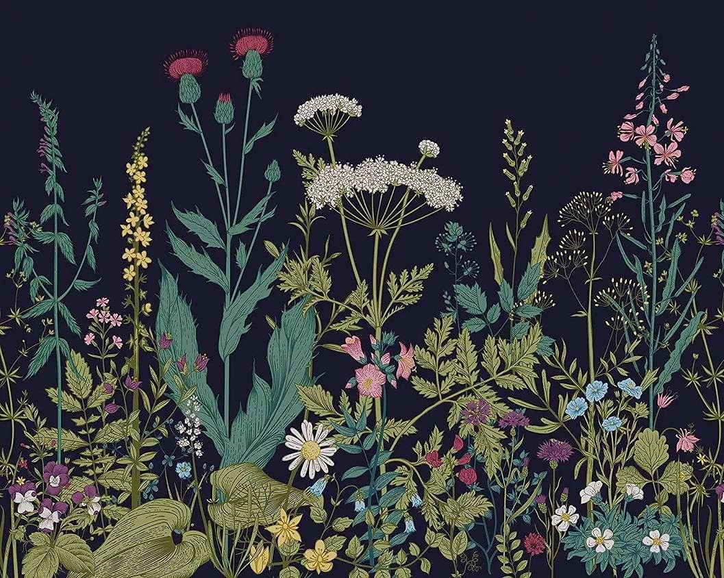 Botanikai mintás skandiváv stílusú vlies fali poszter