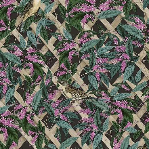 Botanikus hangulatú vlies design tapéta zöld levél és madár mintával