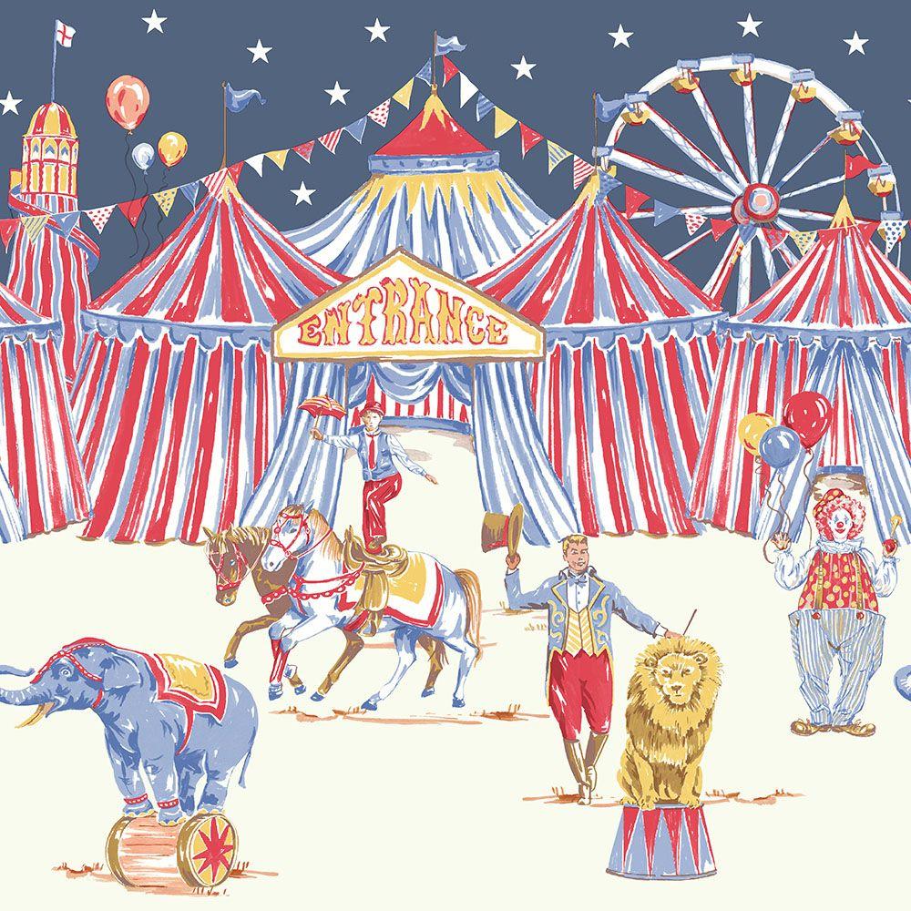 Cirkuszos vidám gyerek bordűr oroszlánnal, elefánttal