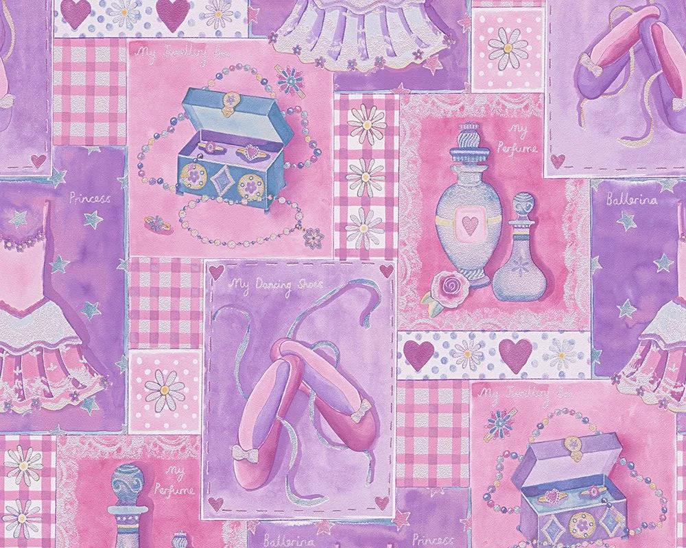 Csajos balettos gyerek tapéta lila rózsaszín színben
