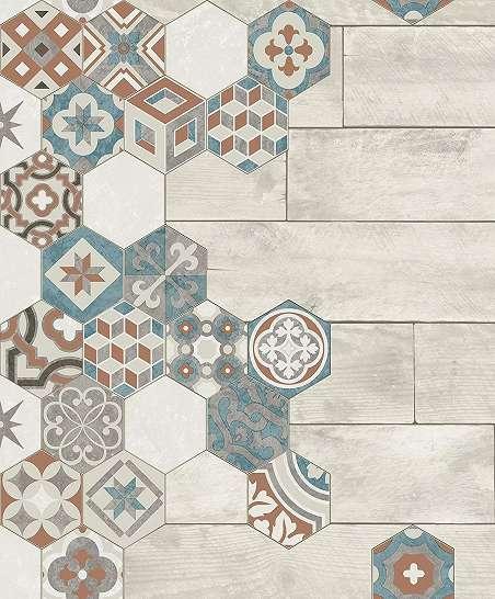 Csempe mintás tapéta keleties stílusú csempe mintával