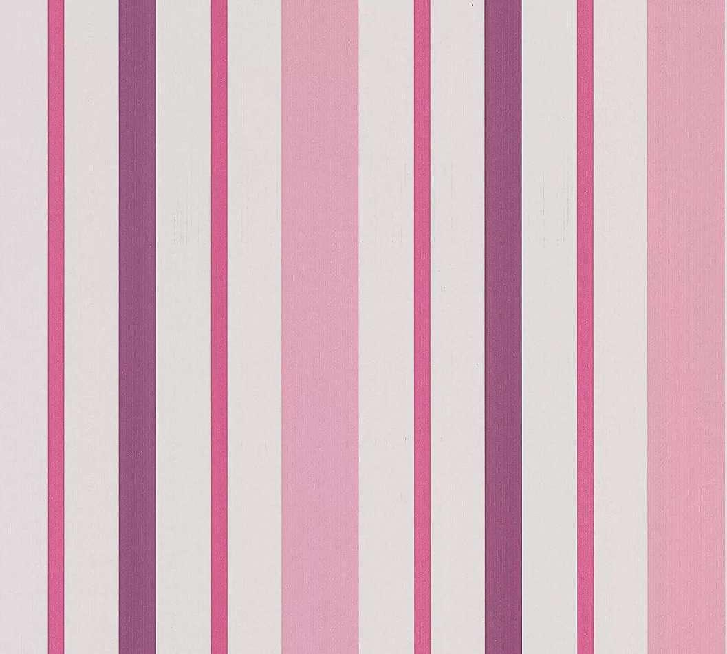 Csíkos mintás gyerektapéta lila, rózsaszín csíkos mintával