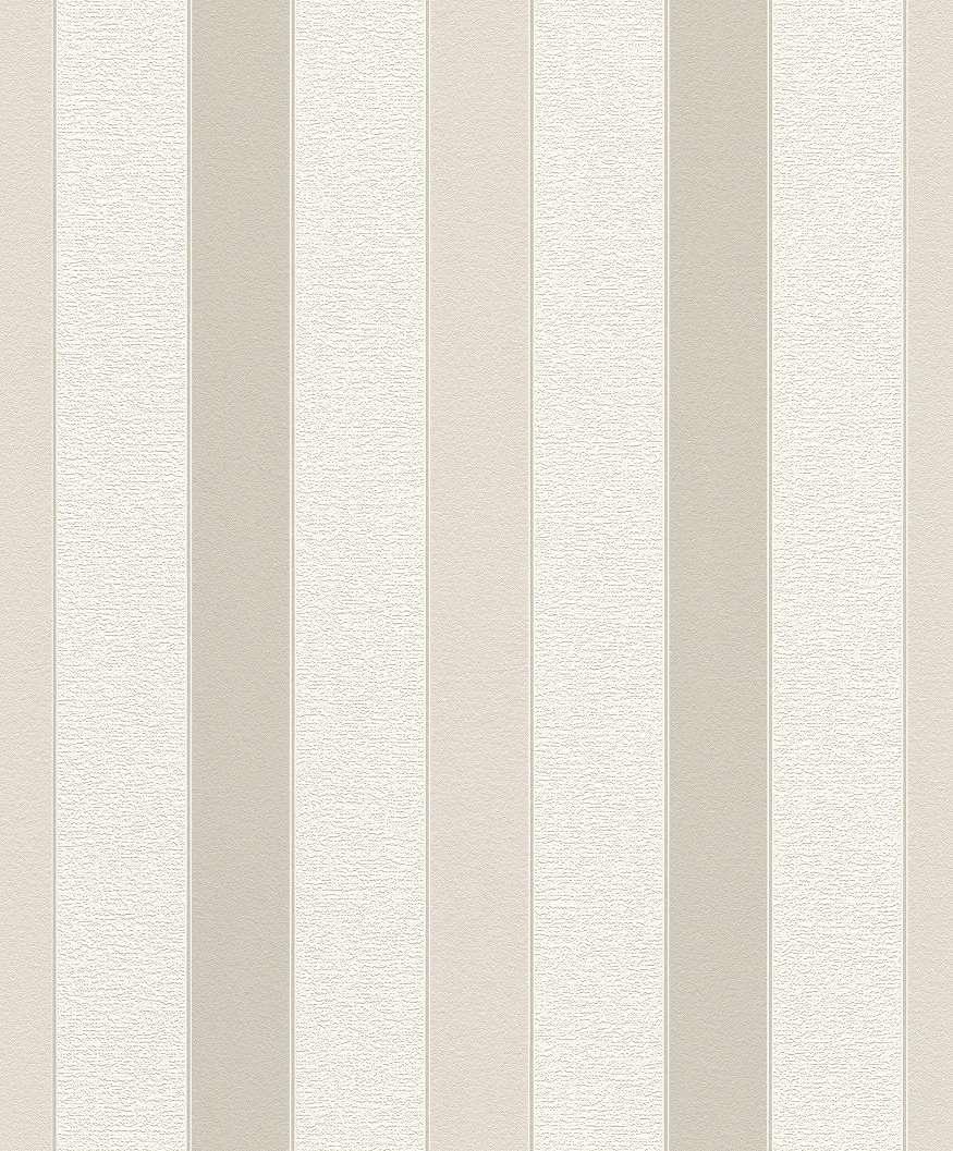 Csíkos mintás tapéta bézs, krém ezüst színvilágban