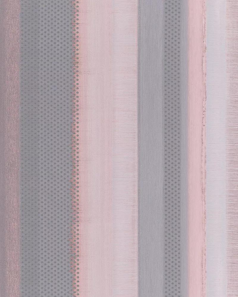 Csíkos mintás tapéta szürke, rózsaszín színben apró struktúrált pöttyös mintával