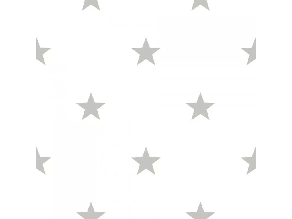 Csillag mintás tapéta fehér alapon szürke színű csillag mintával