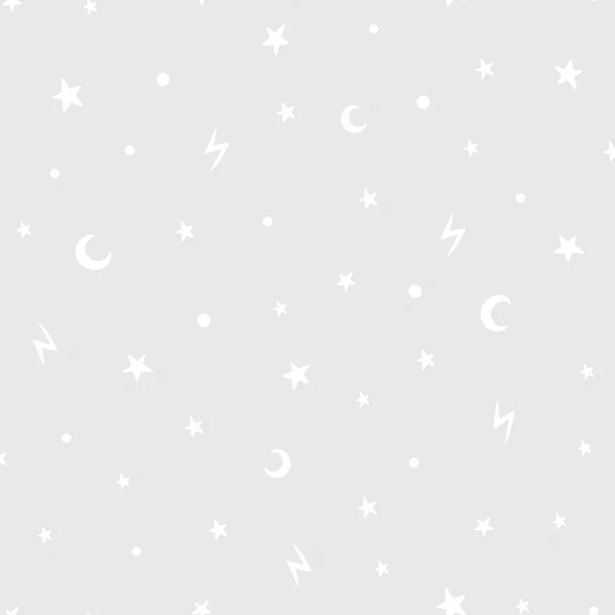 Csillagok és félhold mintás szürke tapéta gyerekszobába